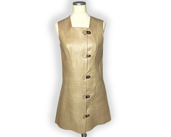 Vintage 1960s Mod Leather Mini Dress Gold Buckles… - image 4