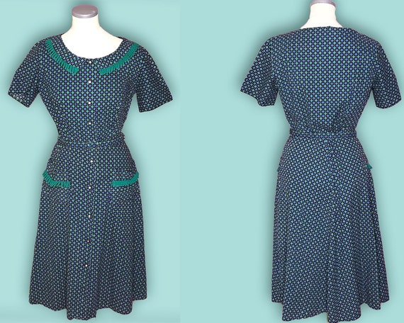 1940s Vintage Novelty Print Day Dress | 40s Dress