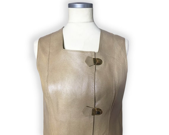 Vintage 1960s Mod Leather Mini Dress Gold Buckles… - image 7