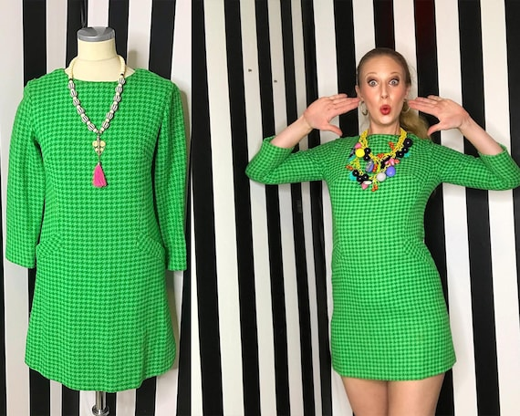 Vintage 1960s Mod Dress 60s Mod Dress Green Hounds