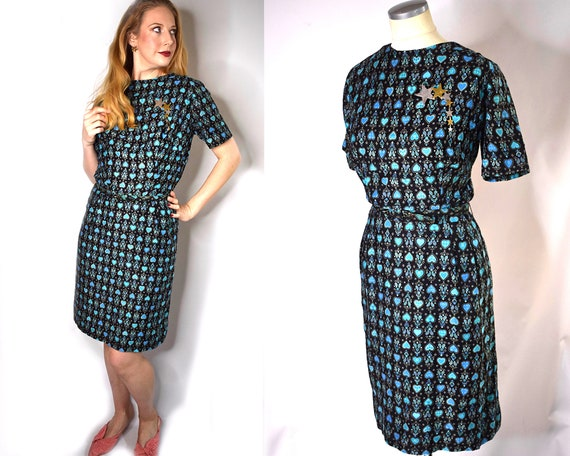 Volup Vintage 1940s Novelty Print Day Dress | Vint