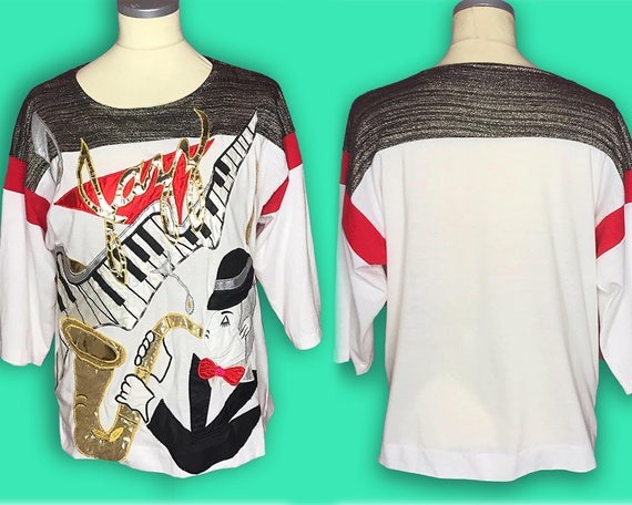 "Vintage 1980s Bonnie Boerer ""Jazz"" Novelty Shirt -"