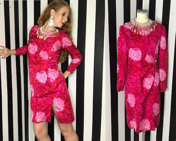 Vintage 80s Floral Silk Cocktail Dress by David Ha