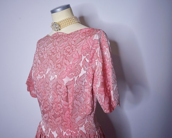 1960s Vintage Floral Brocade Evening Gown Pink an… - image 6
