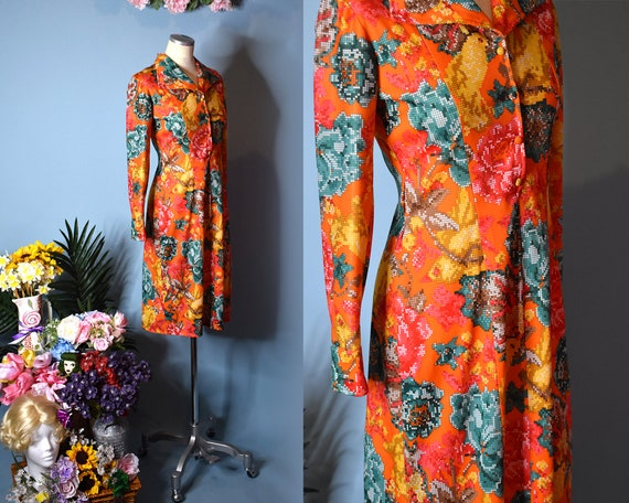 Vintage 1970s Floral Dress | 70s Dagger Collar Dre