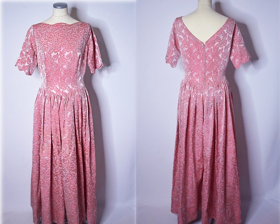1960s Vintage Floral Brocade Evening Gown Pink and