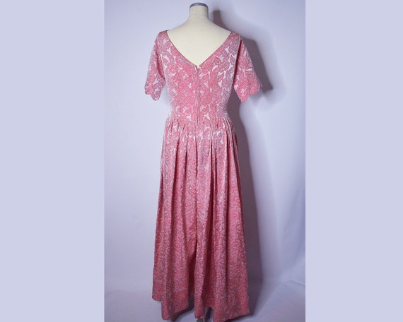 1960s Vintage Floral Brocade Evening Gown Pink an… - image 5
