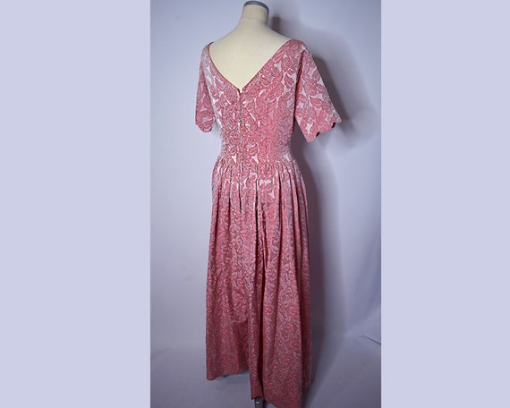 1960s Vintage Floral Brocade Evening Gown Pink an… - image 7