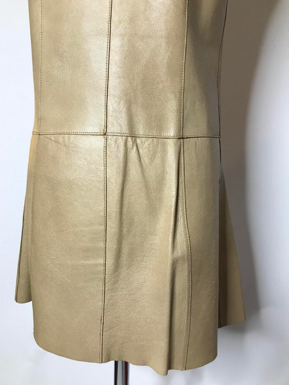 Vintage 1960s Mod Leather Mini Dress Gold Buckles… - image 9