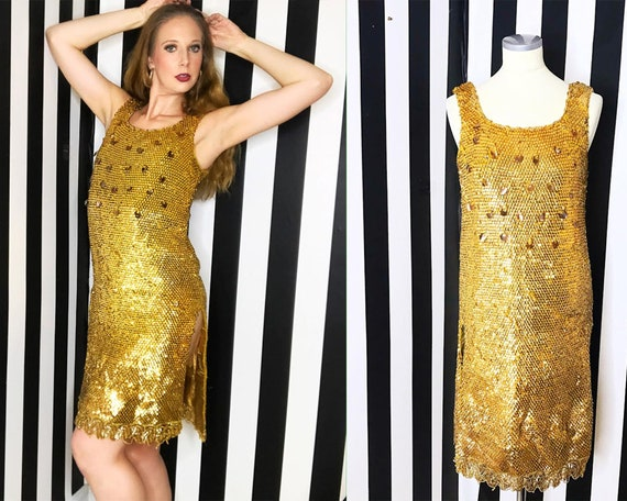 1960s Vintage Gold Sequin Wiggle Dress Large | 60s