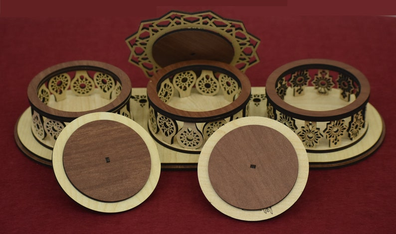 Set of three wooden arabisc jar with lids and base for candy Laser Cut Dxf Pattern DXF file for Laser Cut and CNC router Svg file.