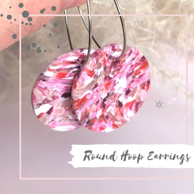Round Hoop Earrings Polymer Clay  Jewelry Stainless Steel