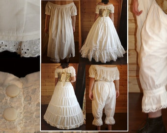 CIVIL WAR~VICTORIAN UNDERPINNINGS IVORY EYELET TRIM CROTCHLESS PANTALETTS~NEW