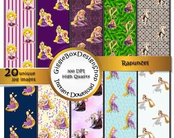 Rapunzel Tangled  Party Printable, Stationary, card making, digital paper, scrapbook paper, 12x12 paper, GiggleBoxDesignShop, Flynn Rider