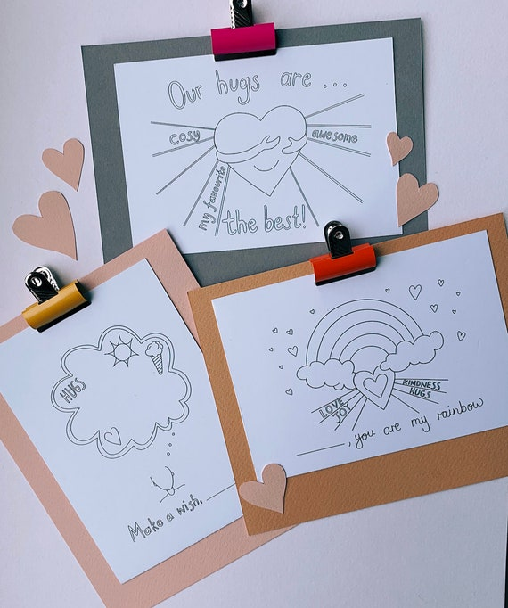 Thinking of you, Missing you, Hugs, Wish and Rainbow Postcards for colouring and posted to loved ones - pack of 3