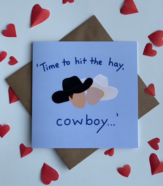 Time to hit the hay, cowboy Valentine's card