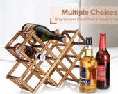 Foldable Carbonized Wooden Wine Bottle Storage Holder Rack Shelf Organizer Free Standing Wine Cabinet Table Bar Decoration Storage Rack