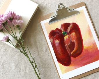 Red pepper • Acrylic • Original study painting signed • Still life