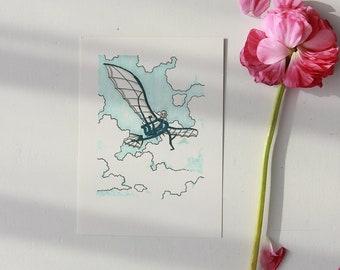Flying Machine - Promarker - Felt - Original Illustration Signed