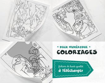 Coloring pack • x3 printable A4 coloring illustrations to download • files . PDF