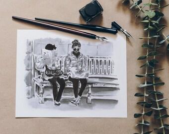 Journal in Paris • Ink on paper • Original sketch signed