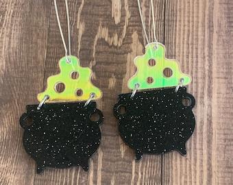 Halloween earrings, cauldron earrings, dangle, iridescent, statement earrings, witch earrings, weird, unique, odd, spooky