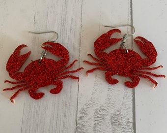 Crab earrings, weird earrings, unique earrings, summer earrings, ocean themed earrings, kawaii earrings, beach earrings, crustacean