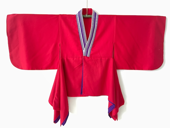 Japanese Hanten Padded Kimono Red Checkered Winter