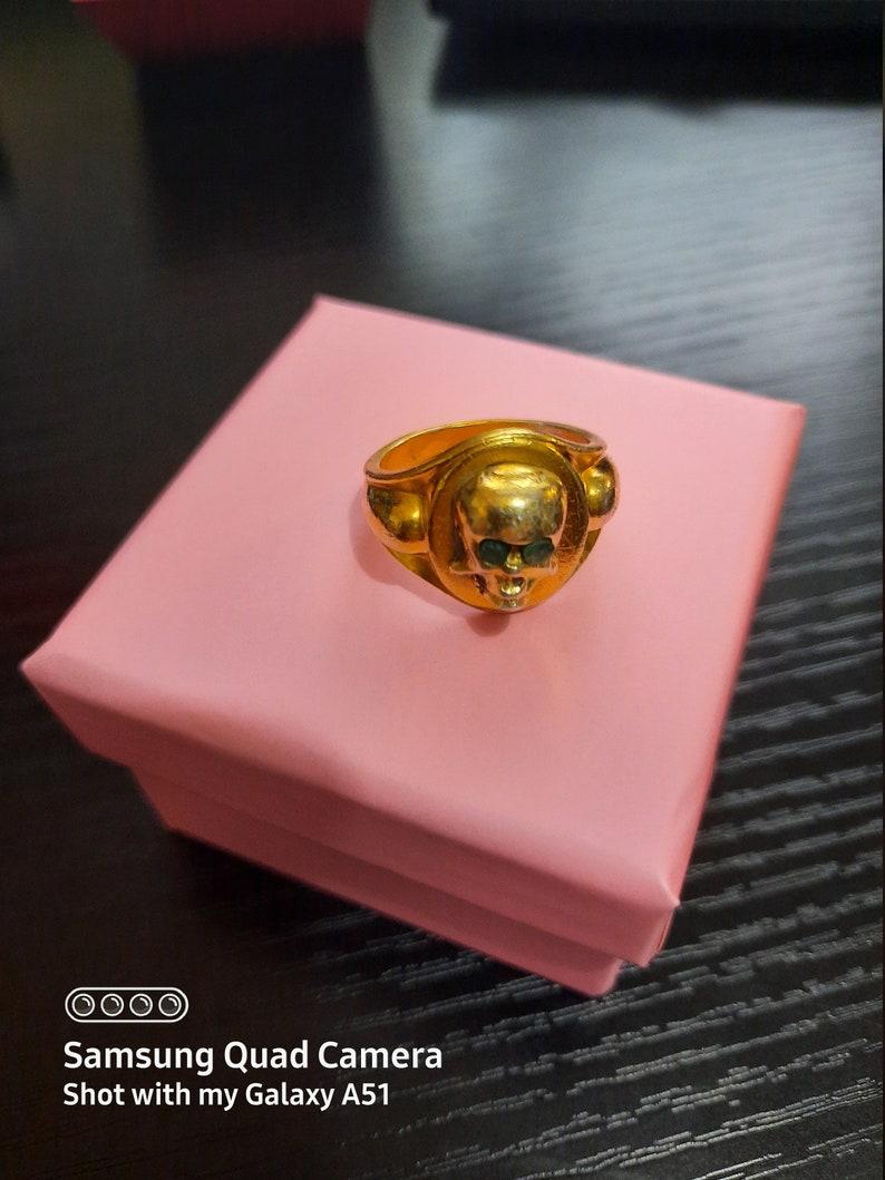 Emeralds Gold Vintage Memento Mori Emerald Gilt Skull Ring Antique Cartouche /& Skull Silver Sze O