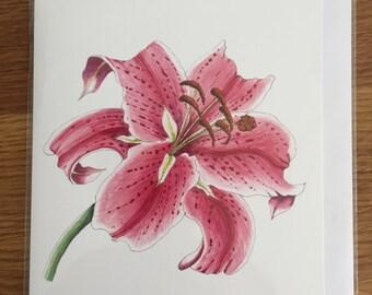 Stargazer Lily Greeting Card, Blank Inside; Mother's Day, Anniversary, Birthday, Botanical, Wedding, Keepsake, Watercolour