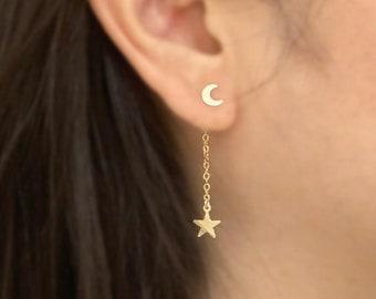 Bridesmaid Gift Dainty Star Dangle Earrings Falling Star Earrings Star Threader Earring Celestial Earrings Rose Gold Star Drop Earrings