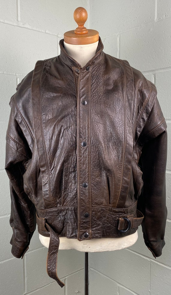 Vintage Batwing Style Leather Jacket