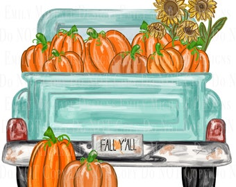 Antique Truck with Pumpkins Turquoise Pumpkin Truck Sublimation PNG Old Truck Digital Download Hand Drawn Art