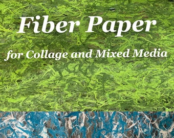 Fiber Paper for Collage and Mixed Media - Two Color Combos To Choose From - Free Shipping