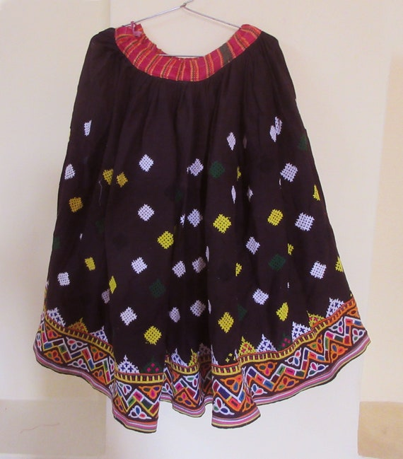 Hand Embroidered Cotton Tribal Gypsy Skirt Vintage