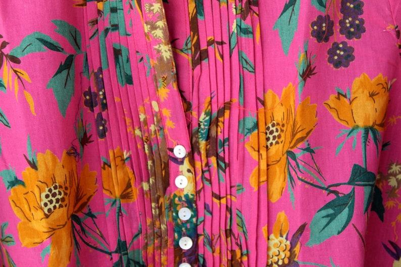 Pink Handmade Block Print Girl/'s Tunic Top Colorful Bohemian Dress Indian Cotton Bird Design Kurti Hippie Summer Dress Women/'s Boho Top