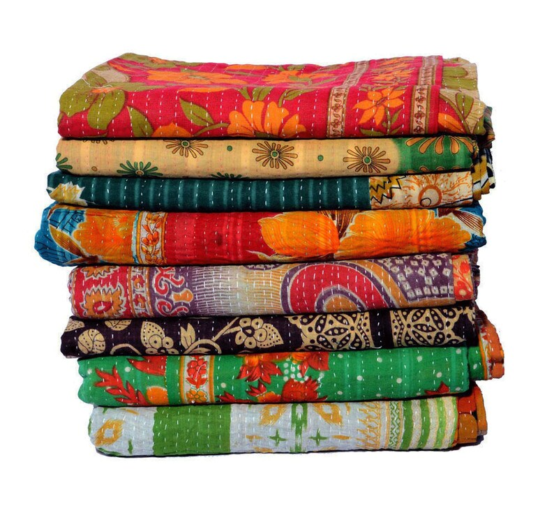 5 Pcs Lot Of  Vintage Kantha Quilt Handmade Kantha Blanket Hand Stitched Sari Kantha Throw Bohemian Kantha Bedspread Indian Kantha Bed Cover