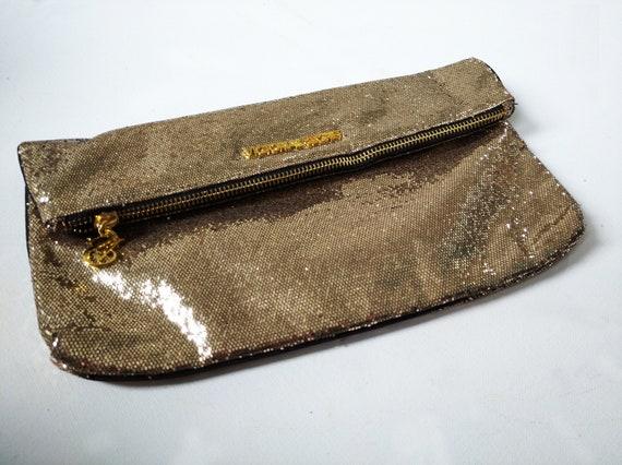 Victoria's Secret Bag Purse Gold Sequin Clutch/Mak