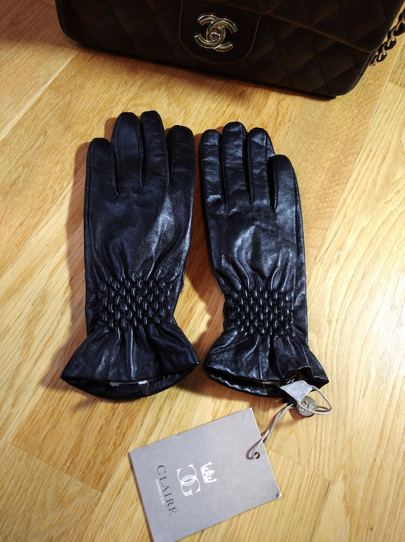 CLAIRE Black leather Gloves,Luxurious Gloves Soft