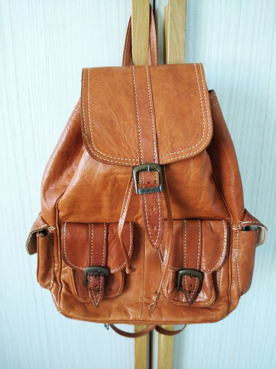 Vintage leather backpack ,Brown leather backpack,H