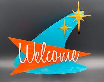 "3D Mid Century Modern ""Boomerang"" Welcome Sign | Atomic Avocado Designs®"