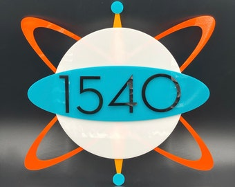 """3D Mid Century Modern """"Atomic Globe"""" Address Sign 