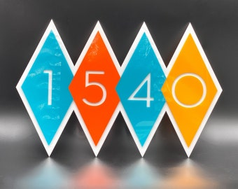"3D Mid Century Modern ""Diamond"" Address Sign | House Numbers | Atomic Avocado Designs®"
