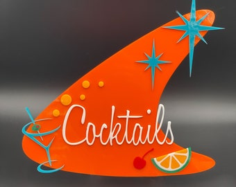 "3D Mid Century Modern ""Cocktail"" Sign | Wall Art | Retro Decor | Atomic Avocado Designs®"