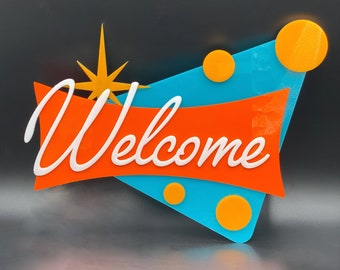 """3D Mid Century Modern """"Cosmic Fizz"""" Welcome Sign 