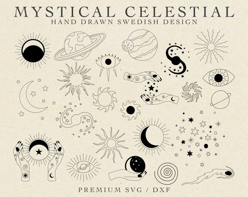 Universe Svg Star Dxf File Celestial Svg Astral Svg Stars Bundle Svg Space Svg MYSTICAL CELESTIAL SVG Hands Moon Svg Boho Stars Svg