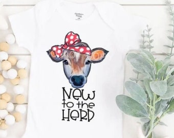 New to the Herd, Infant Onsie, Baby girl shirt