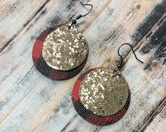 Buffalo Plaid and Chunky Gold Glitter Earrings