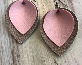 Textured Gray and Pink Layered, Pinched Teardrop Earrings