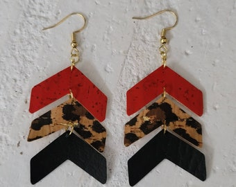 Rustic leather and cork chevron earrings with leopard and gold accents